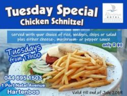 Tuesday Chicken Schnitzel Special Hartenbos